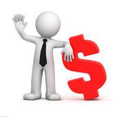 Fotografie 3D-Geschäftsmann mit Dollar-Währungssymbol