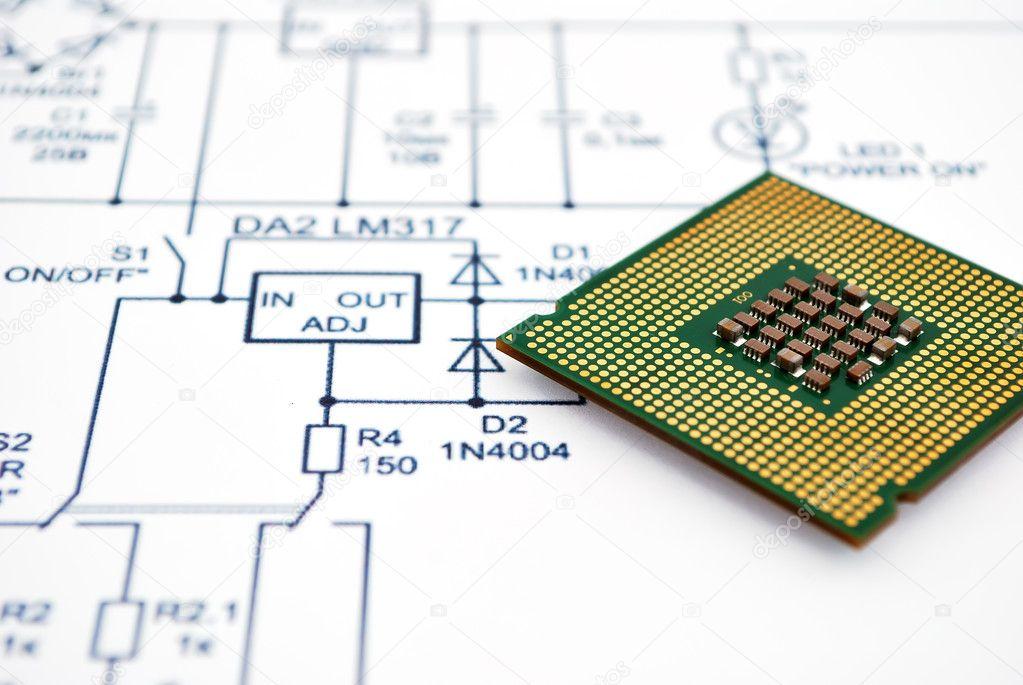 Schaltplan und cpu — Stockfoto © vetkit #4223466