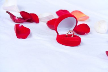 Wedding rings in the red box