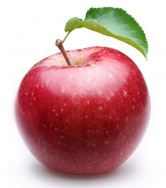 Ripe red apple with a leaf.