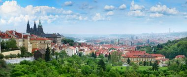 Beautiful panorama of red roofs of Prague's Old Town.