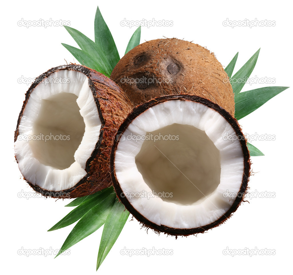 Chopped coconuts with leaves on white background. File contains