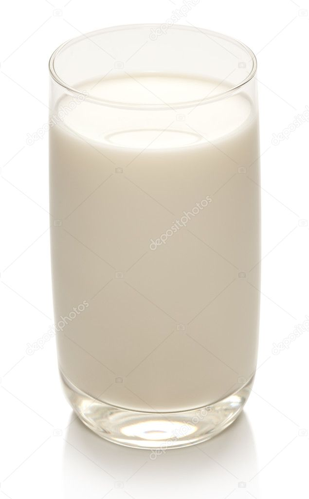 Glass of milk on a white