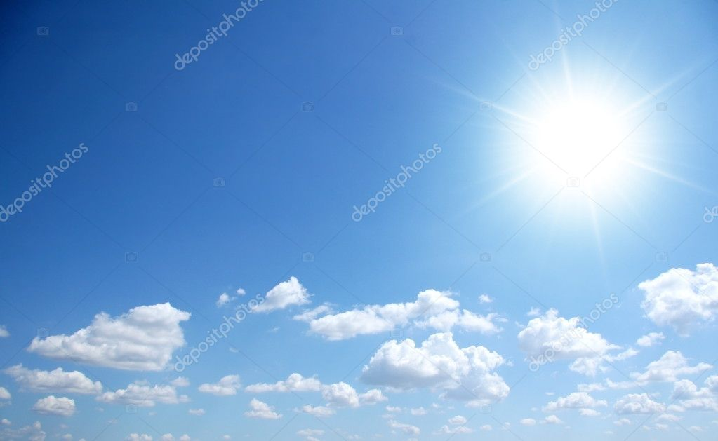 Bly sunny sky with small clouds