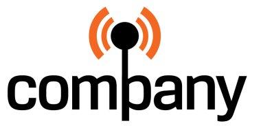 Antenna for wireless technology company logo. stock vector