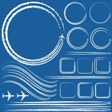 Vector illustration of a design elements of aircraft with smoke trails stock vector