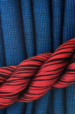 Curtain in red and blue