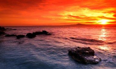 """Картина, постер, плакат, фотообои """"удивительный закат над скалистым морем фото"""", артикул 5222034"""