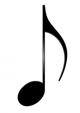 Musical eighth note isolated on white background