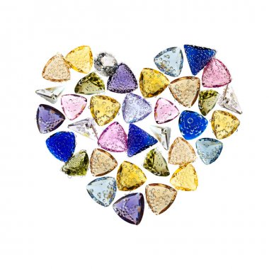Jewelry gemstones heart shaped. Isolated on white.