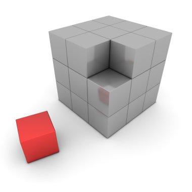 Big Grey Cube Of Blocks - One Red Box Separate