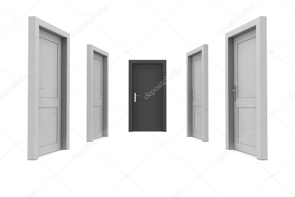 Schwarze Türen wählen sie die schwarze tür — stockfoto © pixbox #4016691