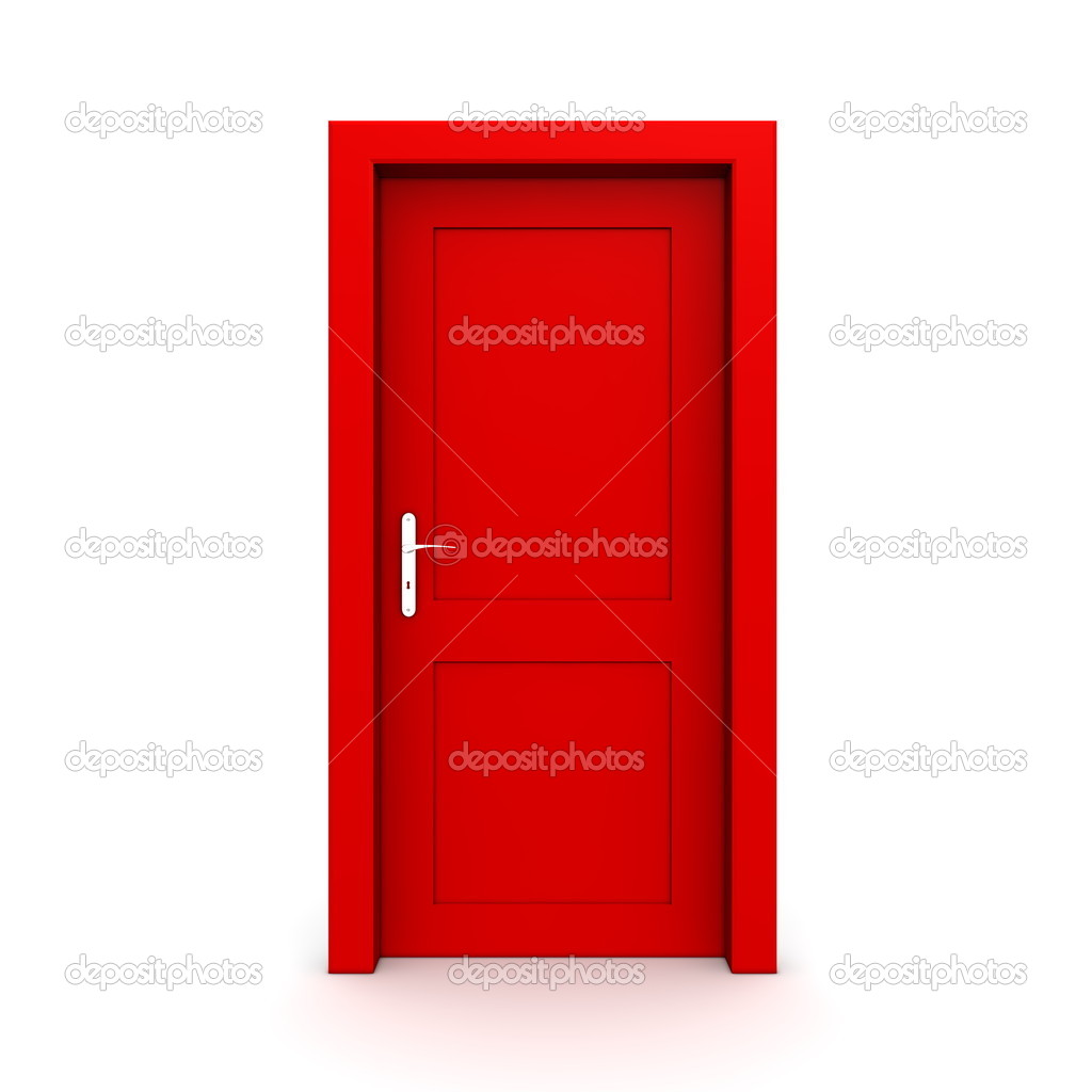 Single red door closed - door frame only no walls \u2014 Photo by PixBox  sc 1 st  Depositphotos & Closed Single Red Door \u2014 Stock Photo © PixBox #4089844