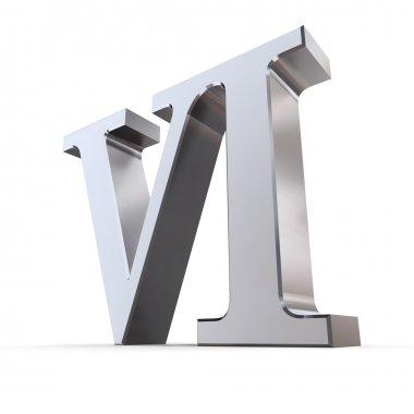 Metallic Roman Numeral 6