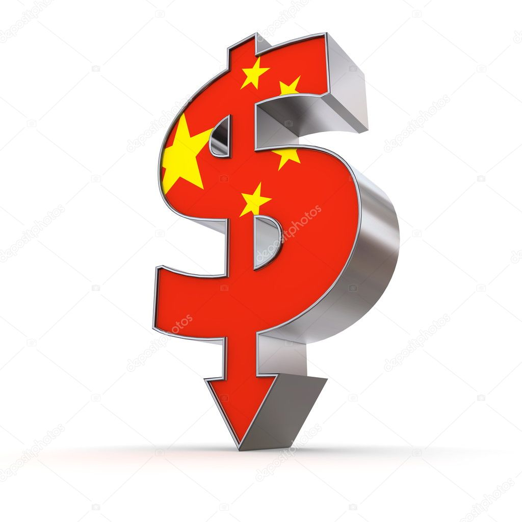 Dollar Symbol Arrow Down Chinese Flag Texture Stock Photo