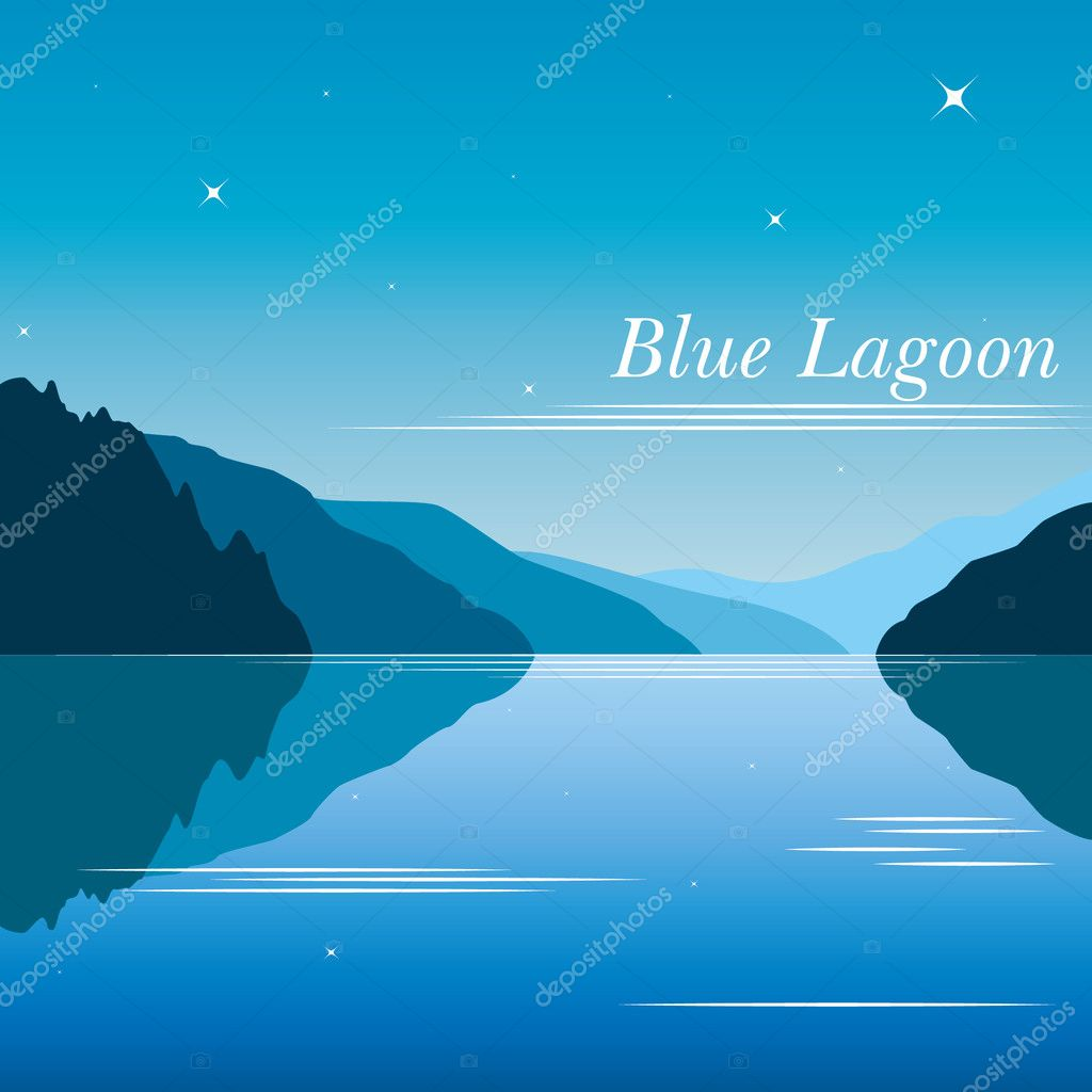 Blue lagoon background vector with mountains