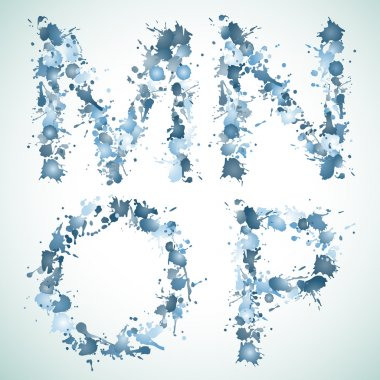 Alphabet water drop MNOP, this illustration may be useful as designer work clip art vector