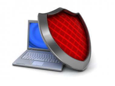3d illustration of laptop computer with shield, information security concept stock vector
