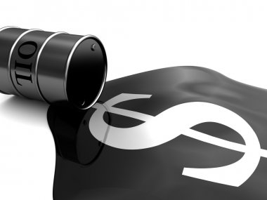 abstract 3d illustration of oil barrel and dollar sign
