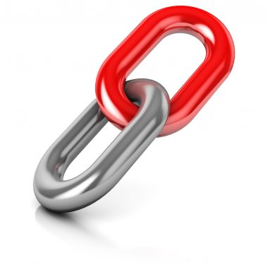 abstract 3d illustration of single chain link over white background