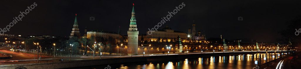 Night panorama of the Kremlin, Moscow, Russia