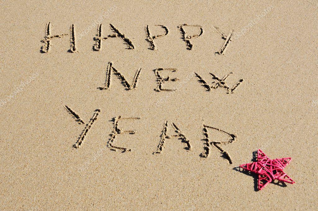 Frase Feliz Ano Novo Escrito Na Areia Stock Photo Nito103 4442110