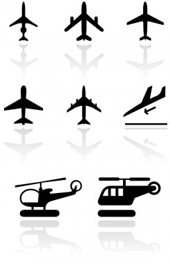 Airplane and helicopter symbol vector set.