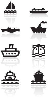 Boat symbol vector illustration set.