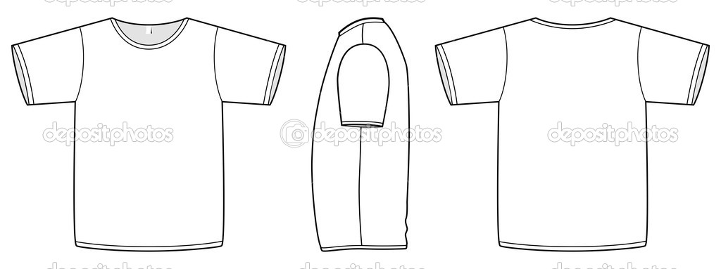 Basic unisex T-shirt template vector illustration. — Stock Vector ...