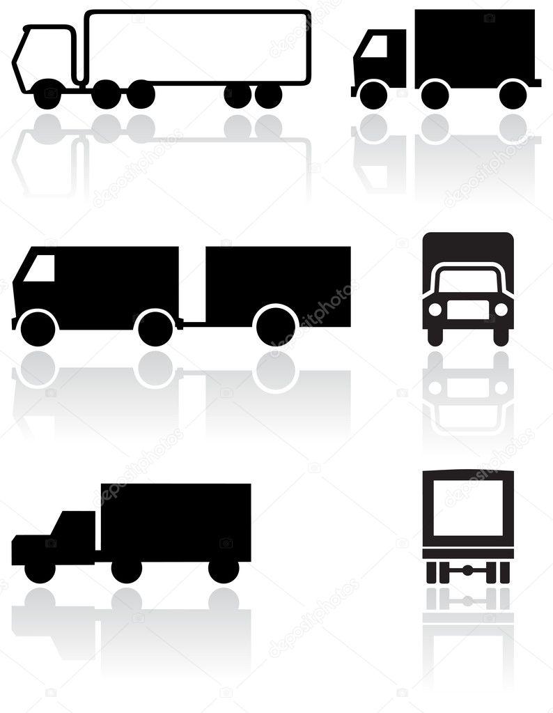 Truck or van symbol vector set. — Stock Vector © bytedust #4351423