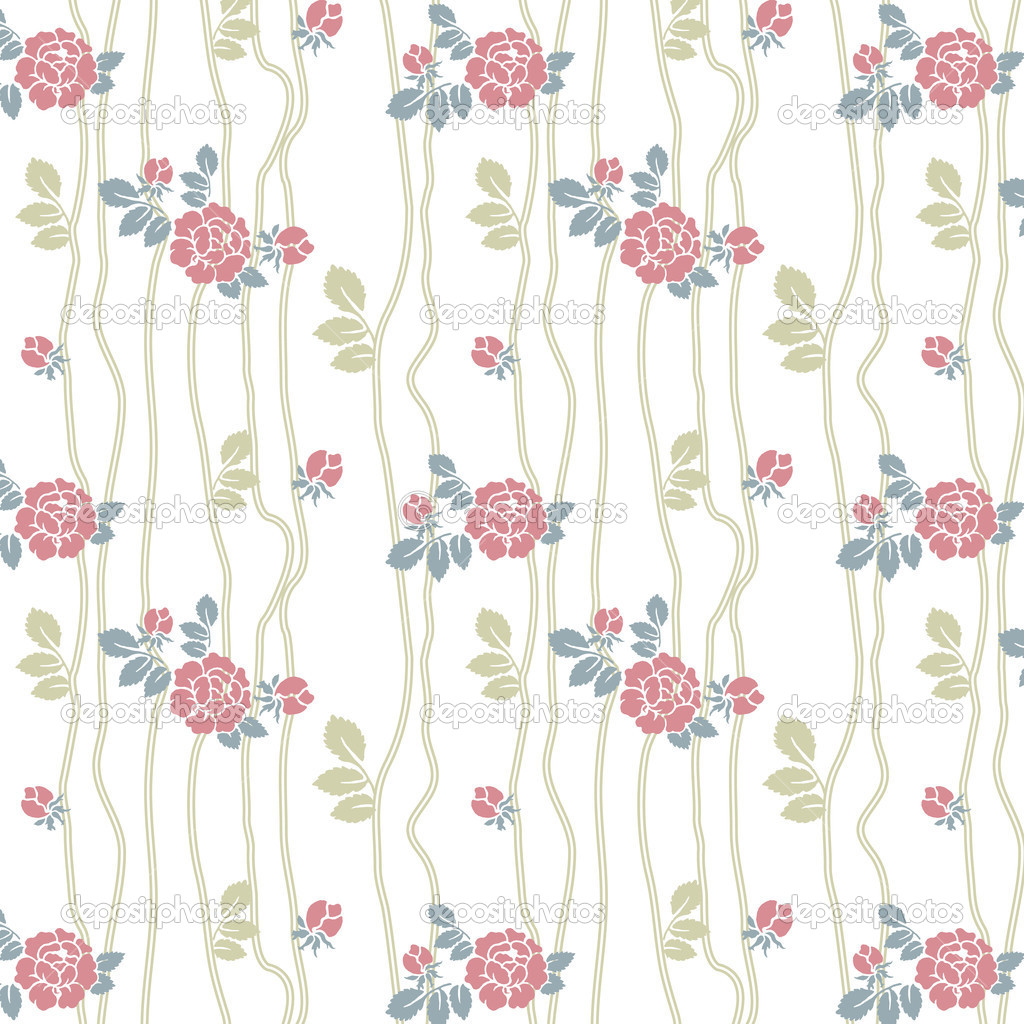 Seamless roses pattern with lines