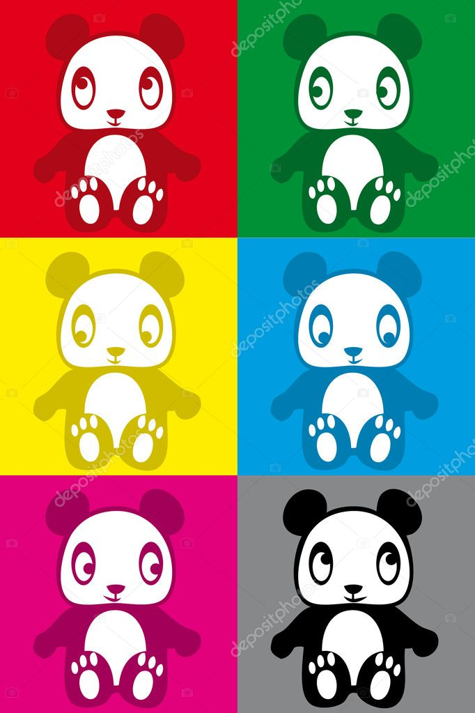 cute colorful panda sticker stock vector poulayot 4116357