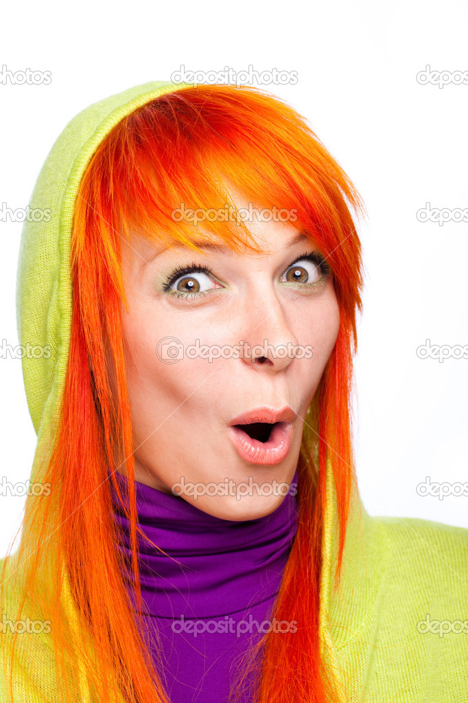 Surprised funny red hair woman with open mouth