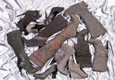 Female shoes and boots placed on silver-grey satin
