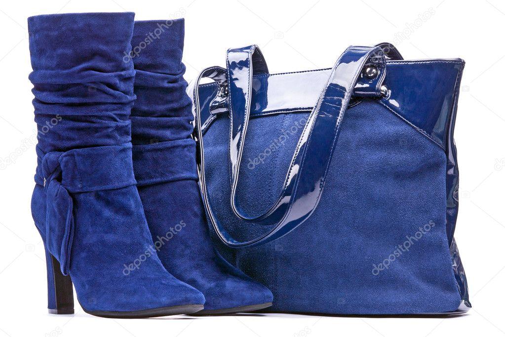 kék női velúr csizma és a fehér háttér táska — Stock Fotó © photobac ... 48fd1ba081