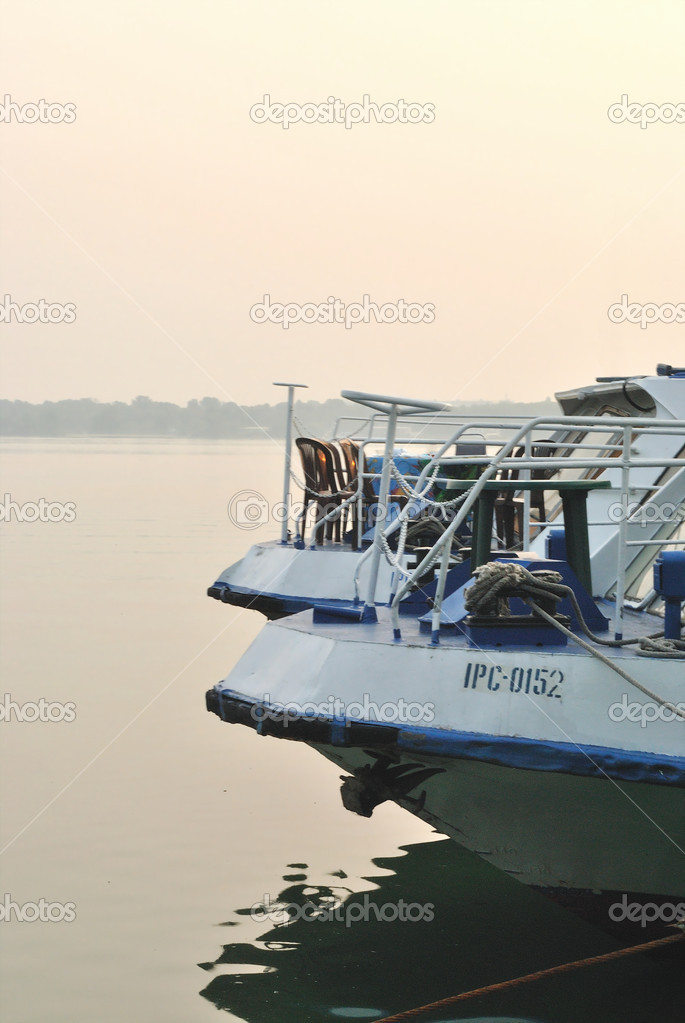 The pleasure boats meet morning at the berth