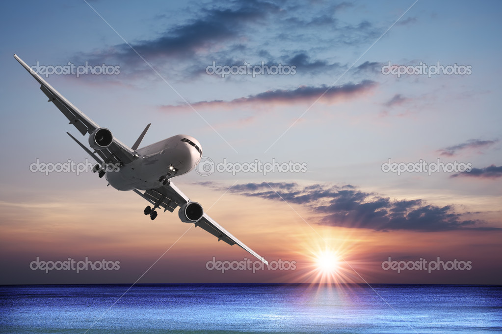 Jet aircraft over the sea