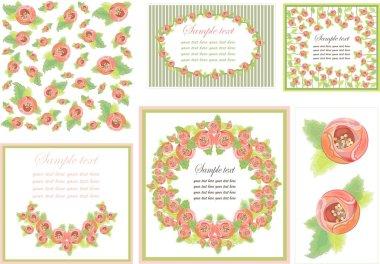 Decorative framework. Background. Seamless. Card. Rose.
