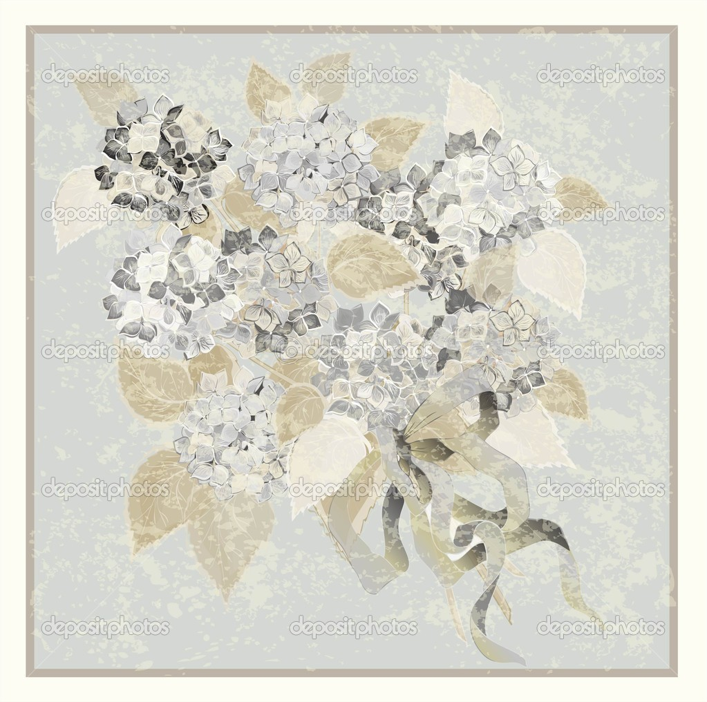 Greeting card with a bouquet of hydrangea.