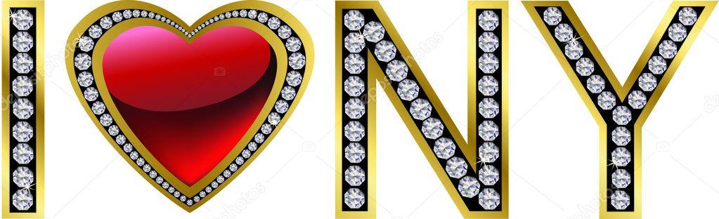 i love new york, diamond and gold, vector — stock vector © dinozzz