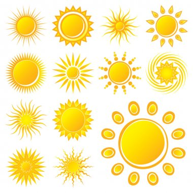 Vector Suns on White Background clip art vector