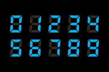 Vector Illustration of Blue Digits Displayon Black Background