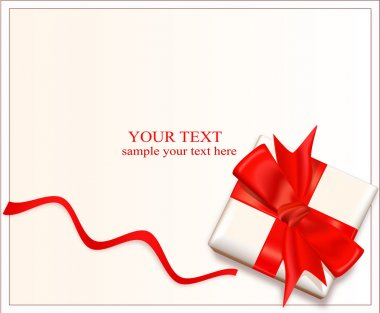 Vector box with a red bow and ribbon on a light background