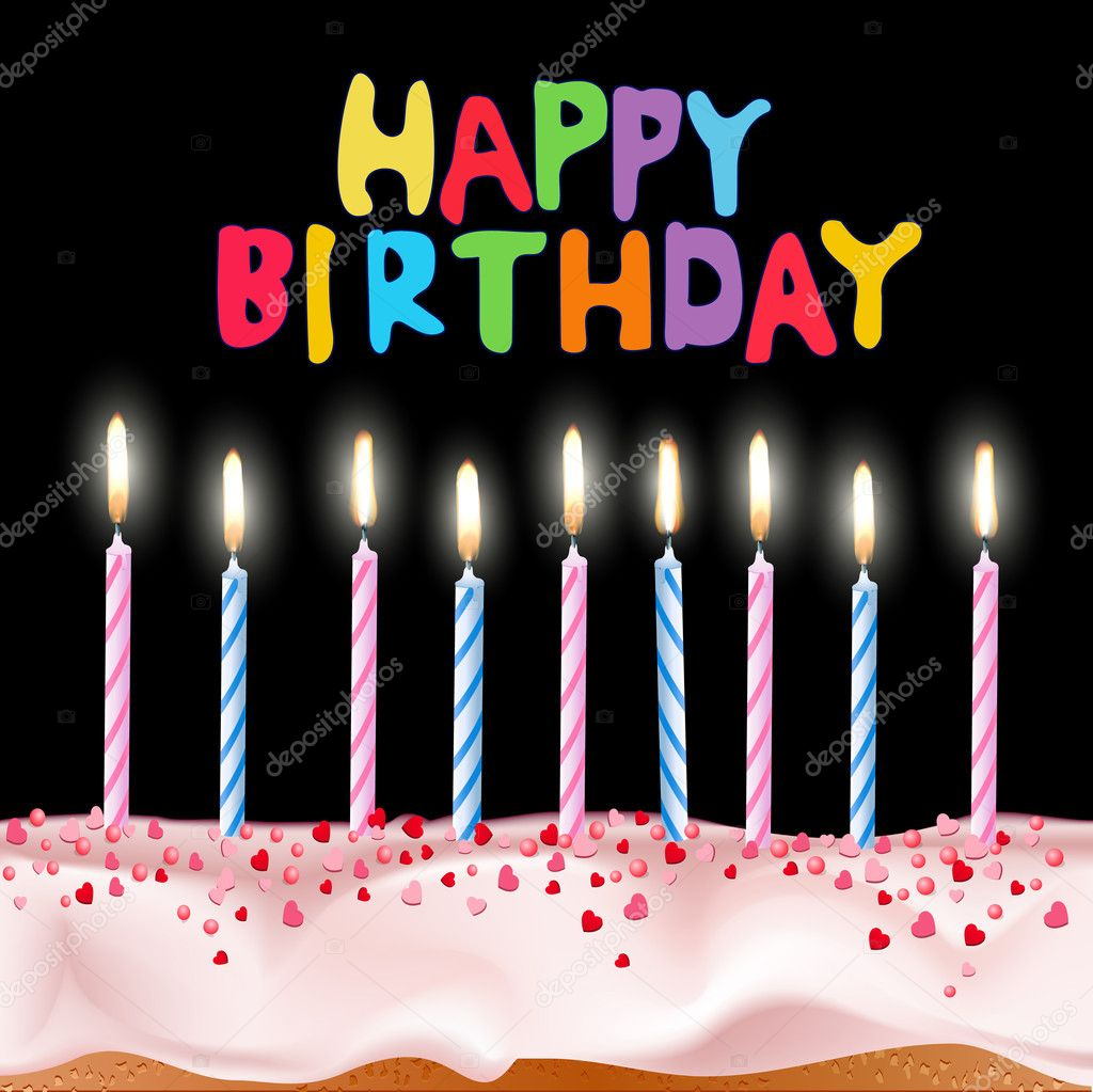 Cake With A Candle And The Words Quot Happy Birthday Quot On A