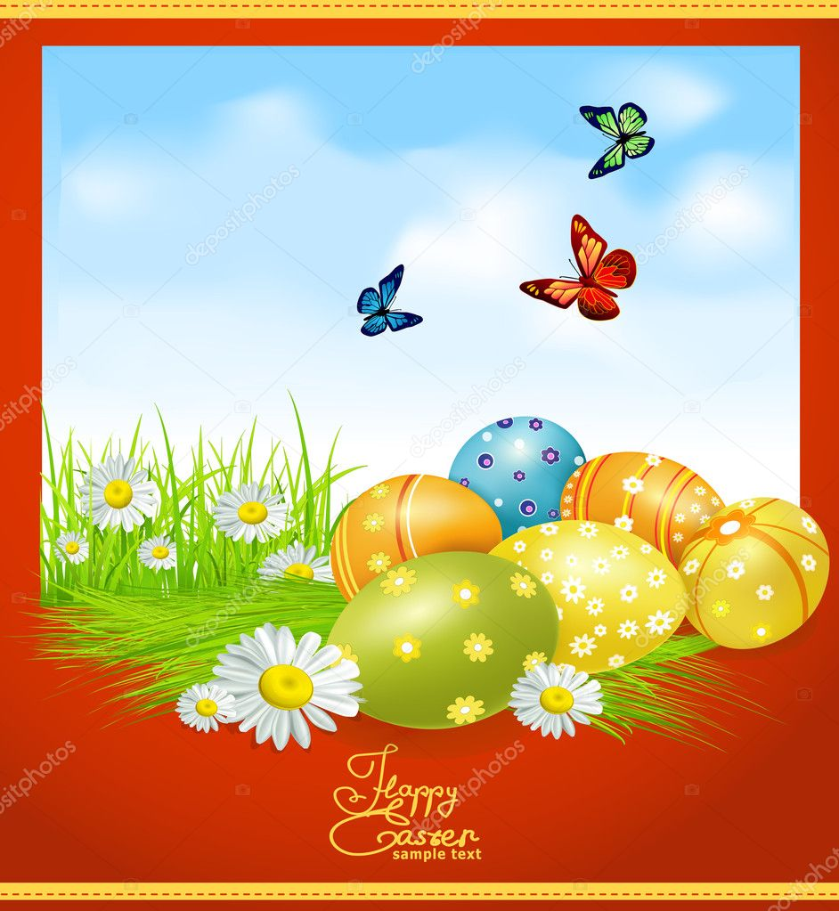 Vector greeting card for Easter with Easter eggs and greens