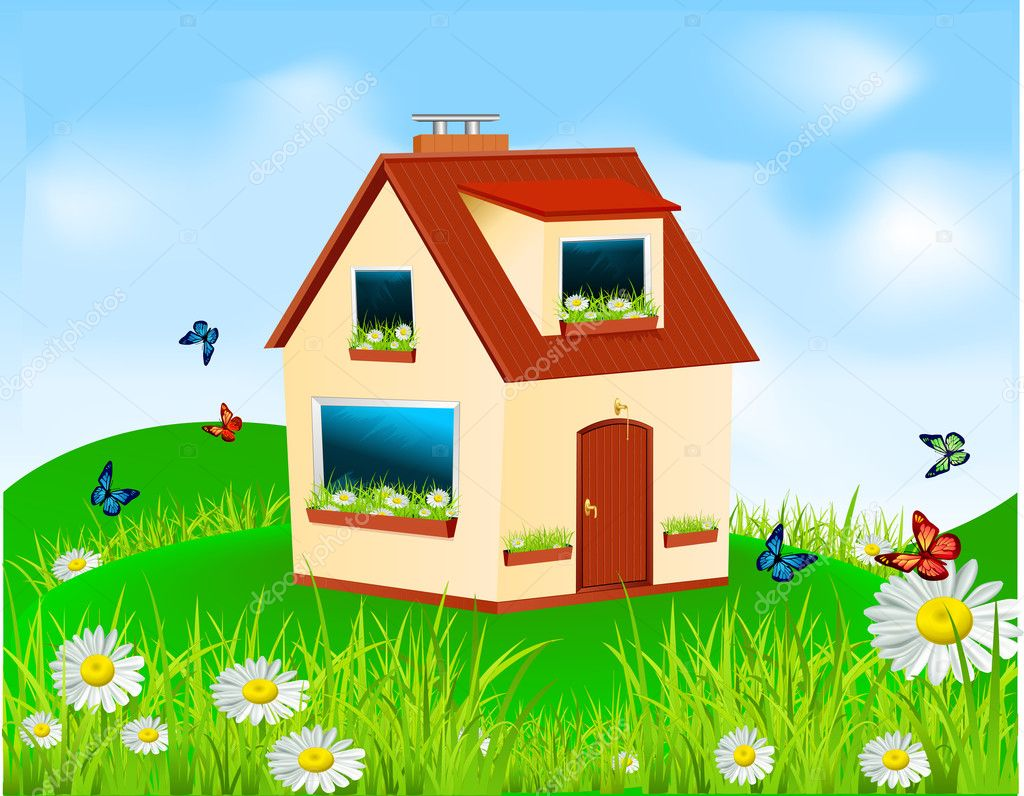 Vector house with yellow walls, red roof and flowers on the wind