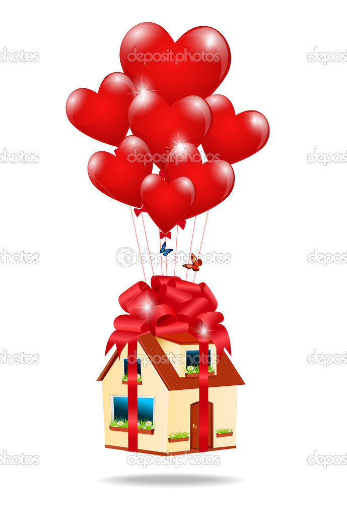 House as a gift tied with a ribbon with a bow on the balloons-he