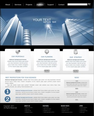 Vector web site is black and blue with building for business