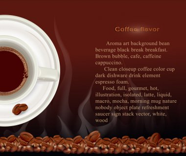Vector booklet, a cup of coffee on a brown background with coffe