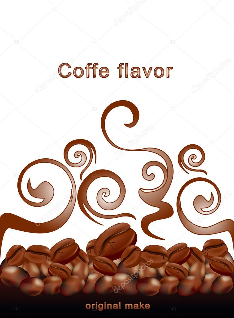 Vector fried hot coffee beans on white background with patterns
